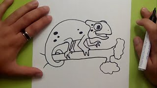 Como dibujar un camaleon paso a paso | How to draw a chameleon