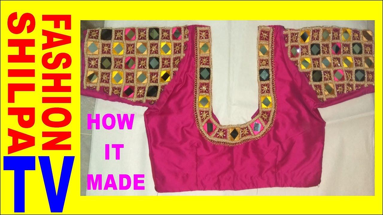 How To Make Designer Blouse At Home 30 Maggam Work Neck Line Zardosi Work For Beginners Youtube
