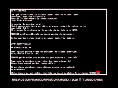 REPARAR EL WINDOWS XP CUANDO FALTA EL NTLDR.FLV