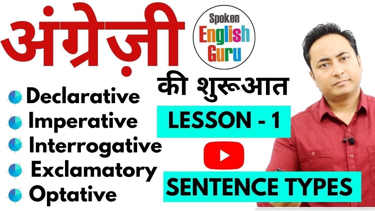 अंग्रेज़ी की शुरूआत Lesson 1 | Types of Sentences - Assertive Imperative Exclamatory Optative...