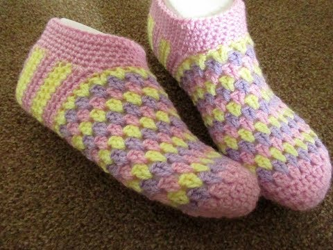 Crochet slippers bed socks Women adults ANY SIZE tutorial Happy Crochet Club