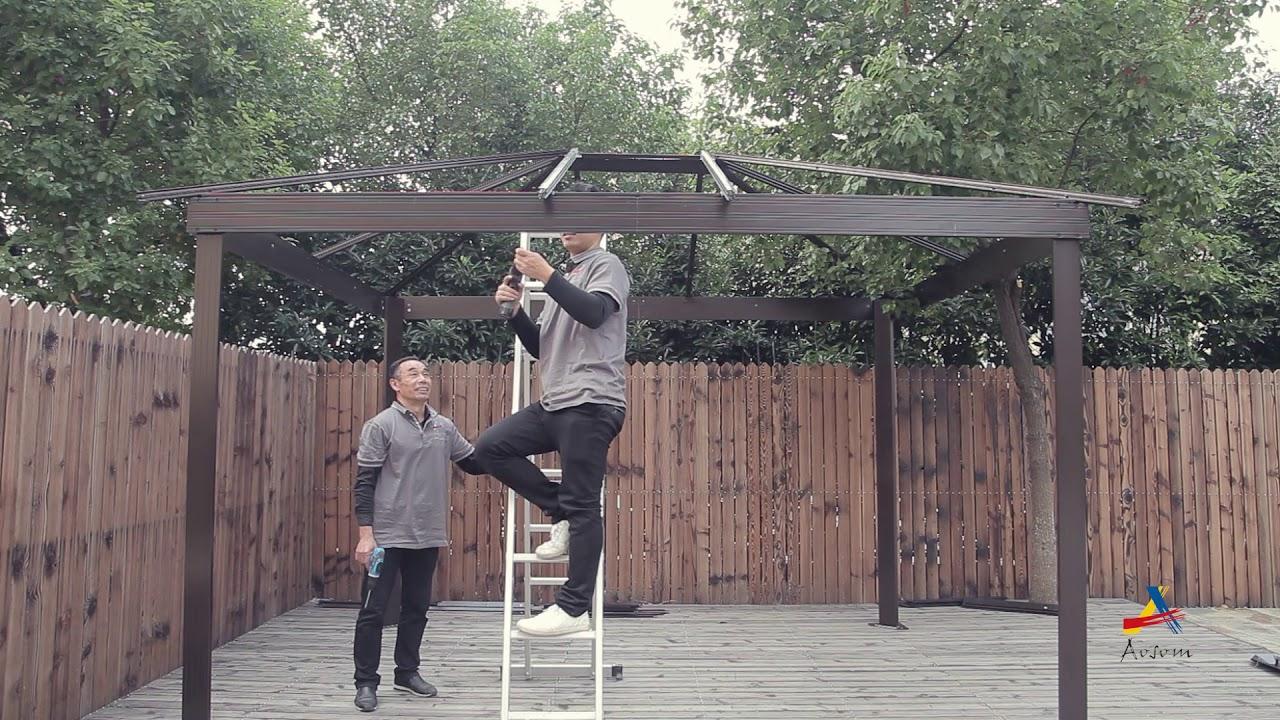 Outsunny Gazebo 3x3 6 M Brown Beige Youtube