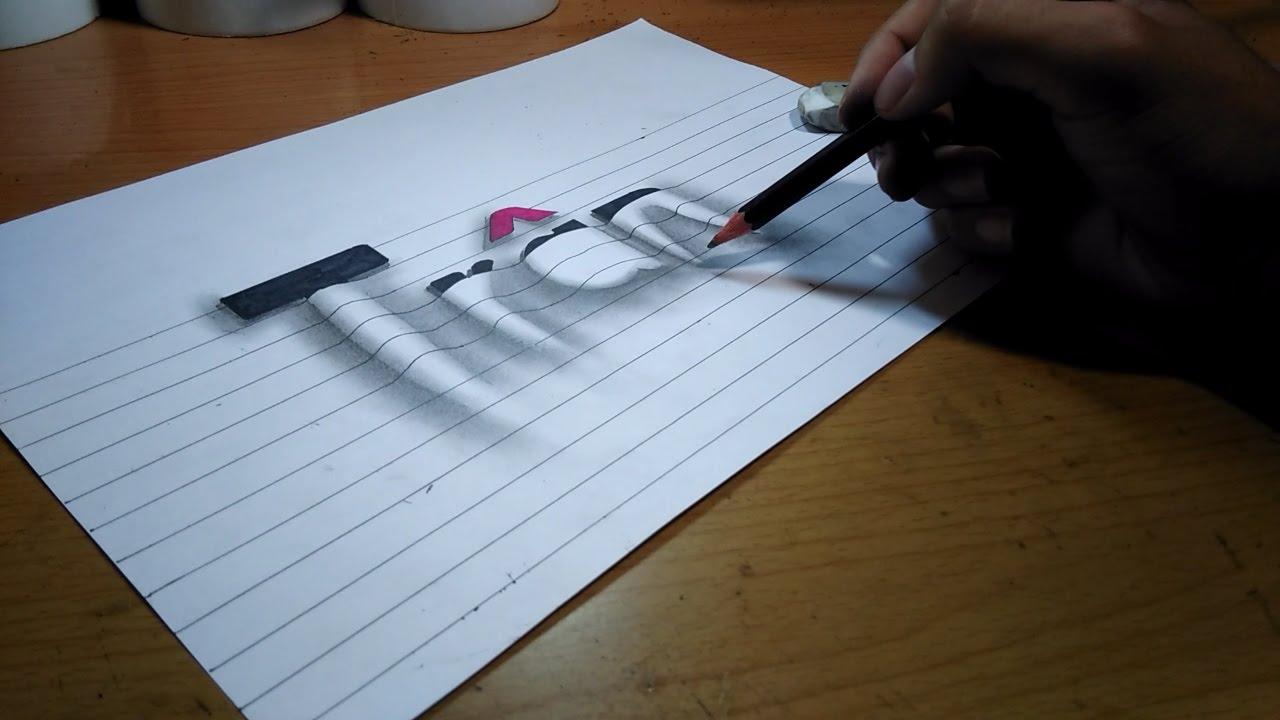 """Hướng dẫn vẽ tranh 3D – Vẽ 3D chữ """"Trân""""    Đa Dạng channel"""