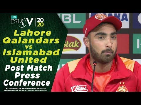 Ahmed Safi Post Match Press Conference | Lahore Qalandars Vs Islamabad United | HBL PSL 2020