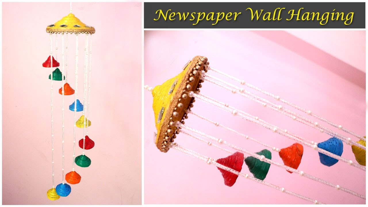 Newspaper Wall Hanging | Newspaper Wind chime | Newspaper crafts for Home  Decor