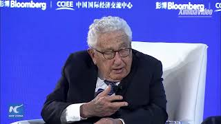 Henry Kissinger discusses U.S.-China ties at New Economy Forum in Beijing