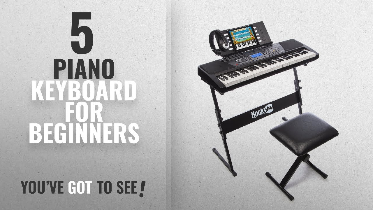 Top10 Piano Keyboard For Beginners [2018]: RockJam 61-Key Electronic Keyboard SuperKit with Stand,