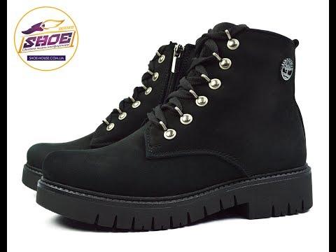 Черные Женские Зимние Кожаные Ботинки TIMBERLAND на меху (шерсть)