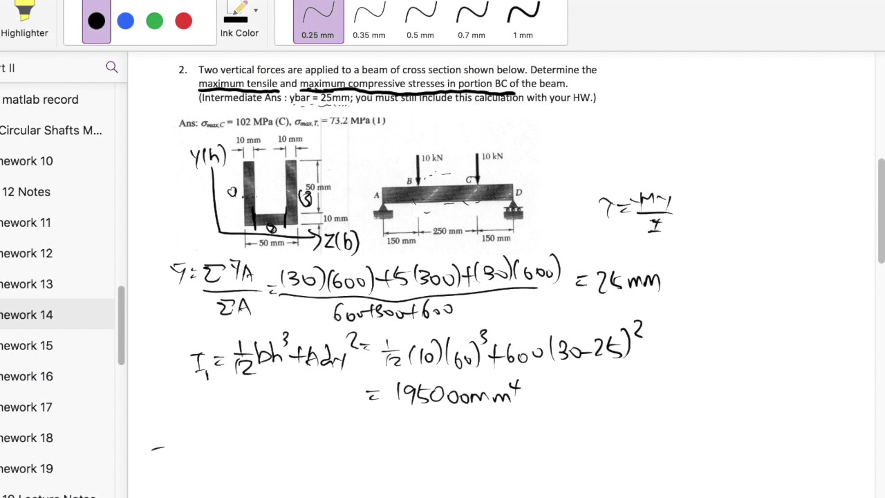 Homework 14 : Find the maximum tensile and compressive stress of section of  beam