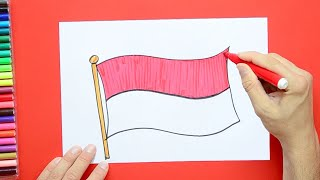 How to draw and color the Flag of Indonesia