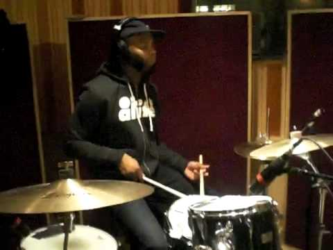 Playing Fusion-Hop Grooves & Drum Checking Kit @ DubWay Studios for Bones Sessions 11.23.10