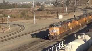 3 different classes of Union Pacific Engines shuttle around Colton Yard  10/13/14