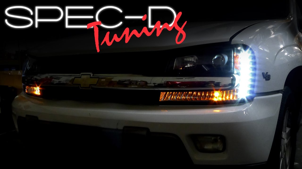 hight resolution of specdtuning installation video 2002 2009 chevy trailblazer led projector headlights youtube