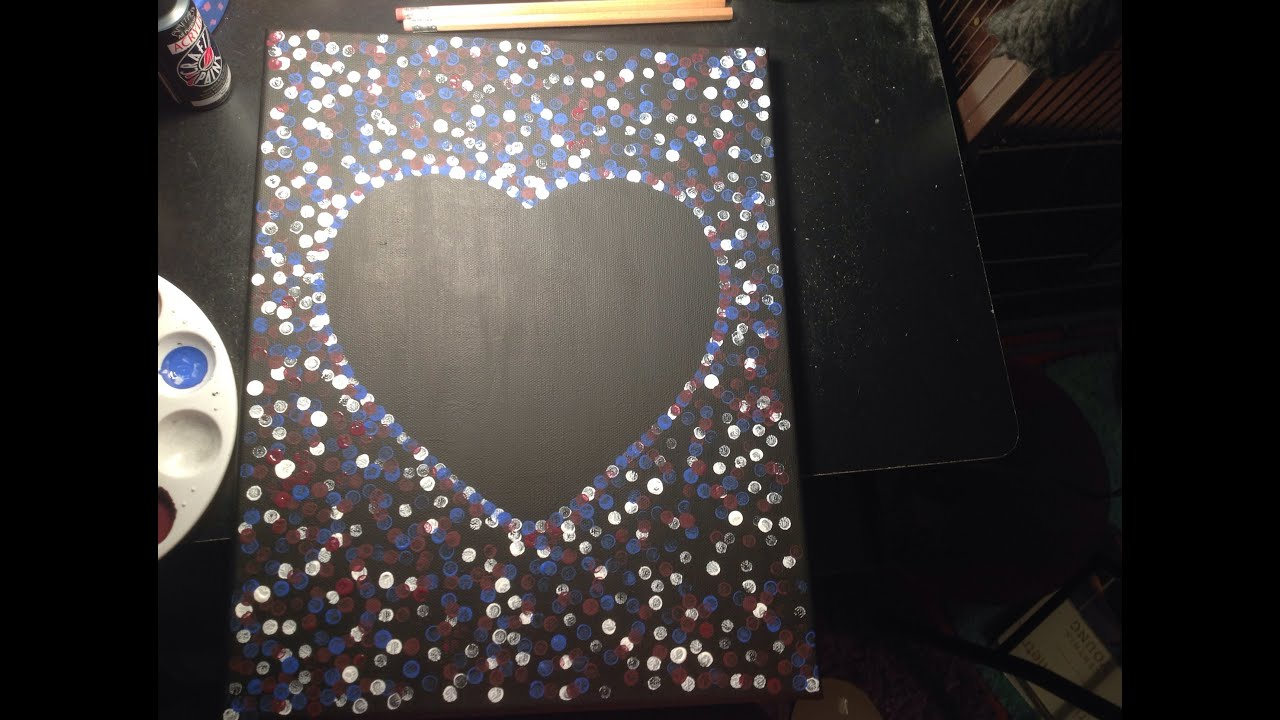 how to make a painted canvas with a heart in the middle youtube