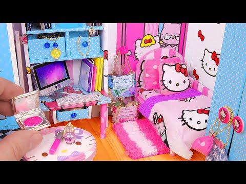 DIY Miniature Hello Kitty Dollhouse ~ Bedroom & Bathroom