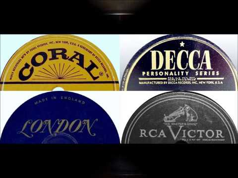 Various Polka 78 RPM Records playing on 1948 Wards Airline Console Radio.