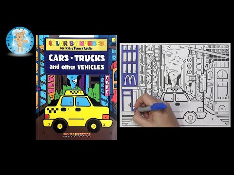 Repeat Color by Number Cars Trucks Vehicles Coloring Book Sunlife