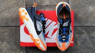 "NIKE REACT ELEMENT 87 ""THUNDER BLUE/TOTAL ORANGE"" 