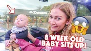 8 WEEK OLD BABY SITS UP!