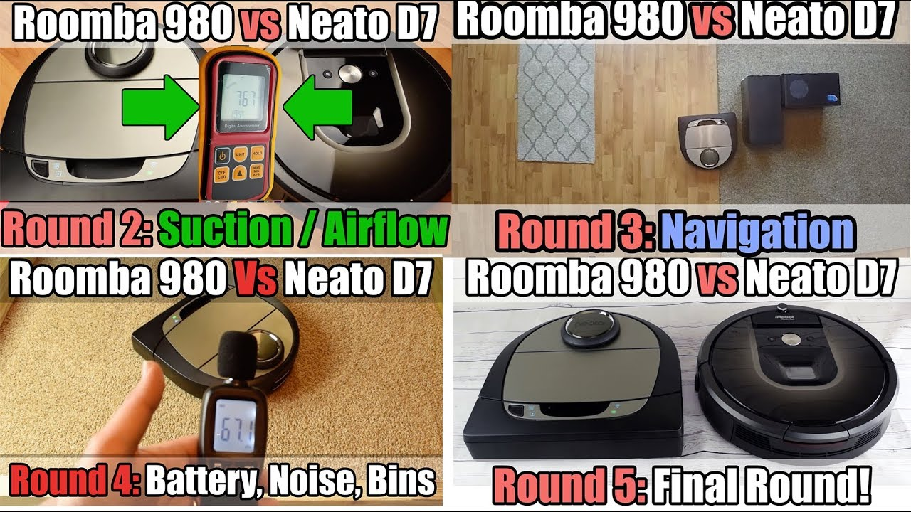 neato d7 vs roomba 980 all rounds in 1 video youtube. Black Bedroom Furniture Sets. Home Design Ideas