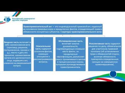 Зинковский С.Б. Лекция 33. Акты применения права: понятие и структура