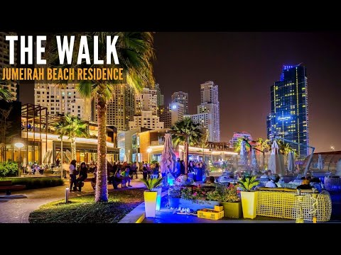 THE WALK at Jumeirah Beach Residence Complete Night Walk | 4K | Dubai Tourist Attraction | City Walk