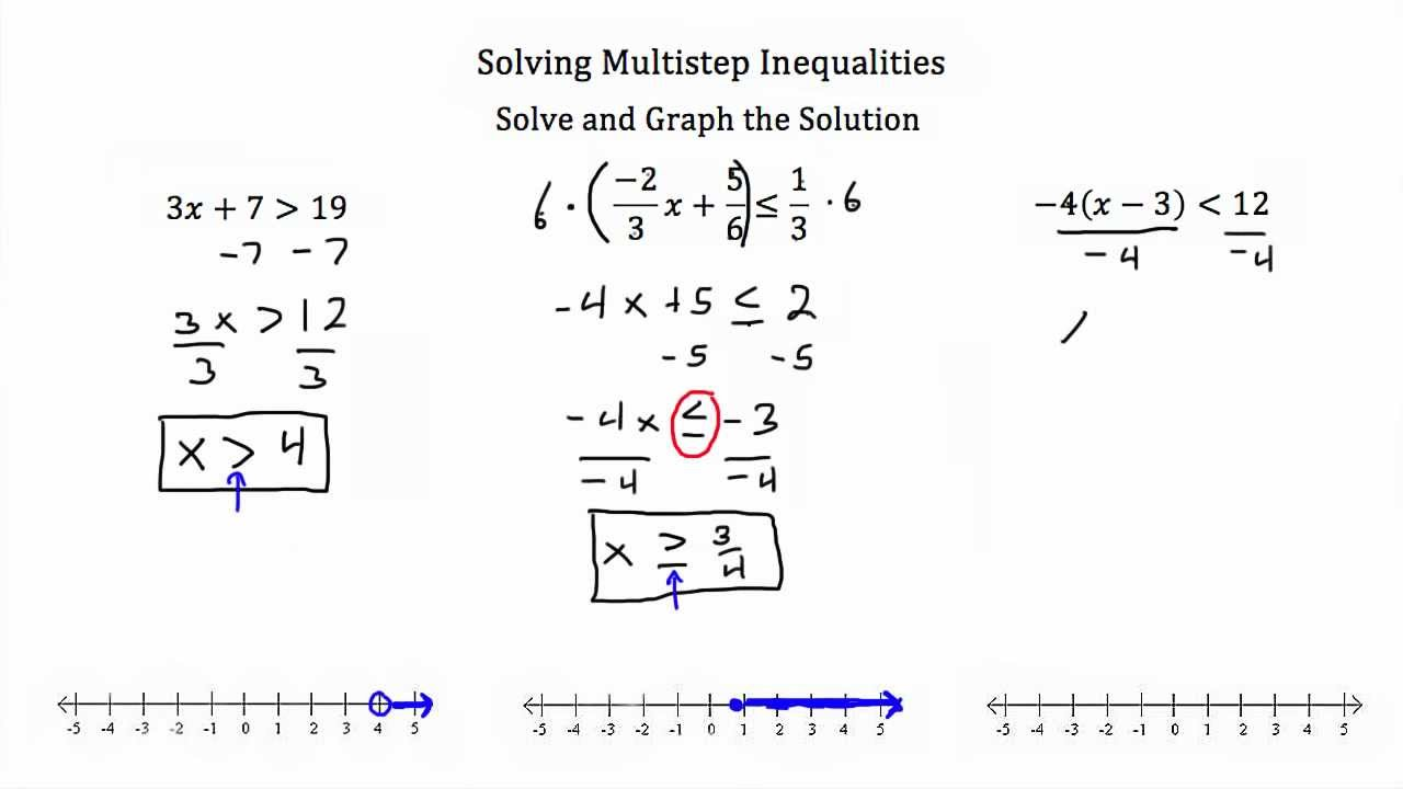 Worksheets Multi Step Inequalities Worksheet multiple step inequalities youtube inequalities