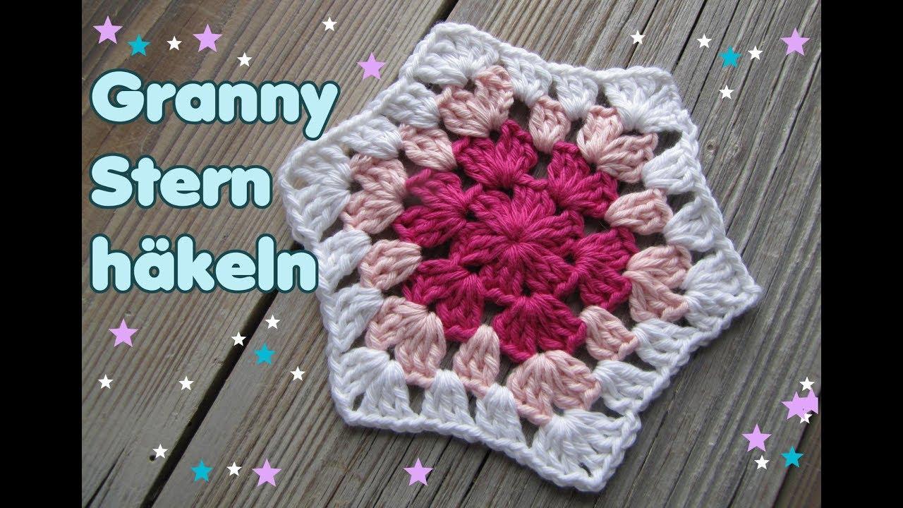 Granny Stern häkeln mit Farbwechsel für Anfänger (6 Ecken) - YouTube