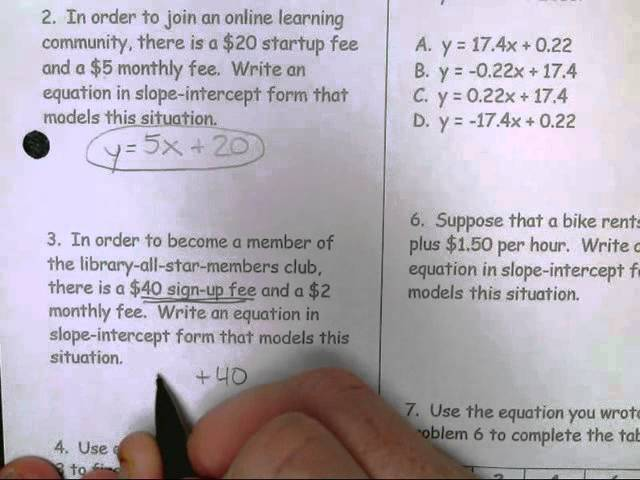Slope Intercept Form Word Problems Answer Key Timiznceptzmusic