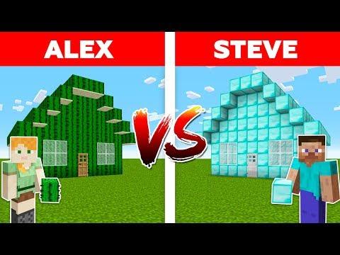 MINECRAFT - ALEX vs STEVE! DIAMOND HOUSE vs CACTUS HOUSE / Minecraft Animation #1