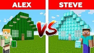 MINECRAFT - ALEX vs STEVE! DIAMOND HOUSE vs CACTUS HOUSE / Minecraft Animation #1