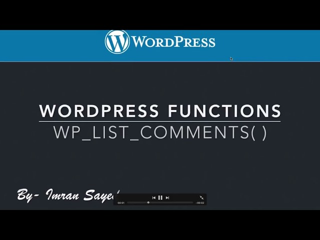 WordPress Functions wp list comments Part-9