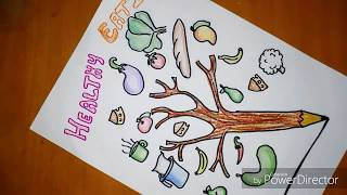 Healthy lifestyle poster drawing for kids || health is wealth making|| doms pencil colors review watch this full video and try . material used: ivory ...