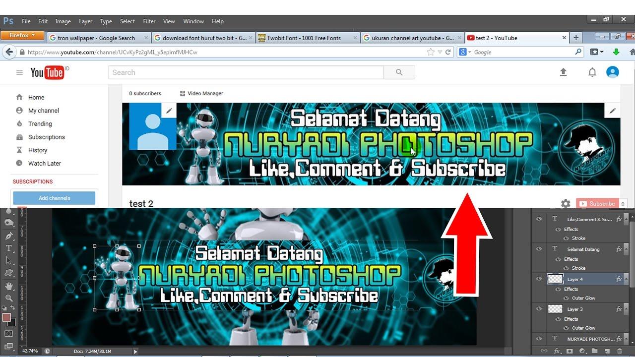 cara membuat gambar  channel art youtube  di photoshop YouTube