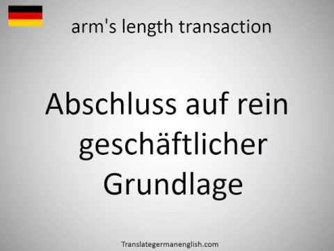 How to say arm's length transaction in German?