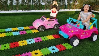 Kids pretend play with puzzle toys and colorful car