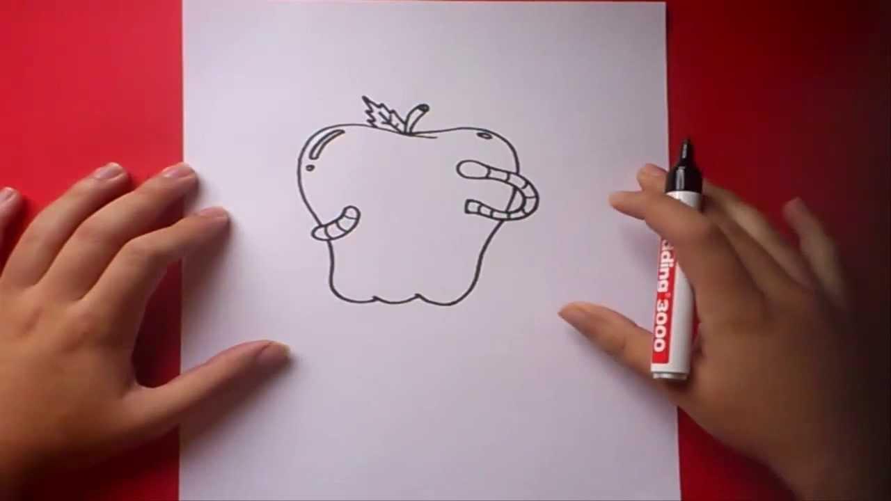 Como dibujar una manzana paso a paso  How to draw an apple  YouTube
