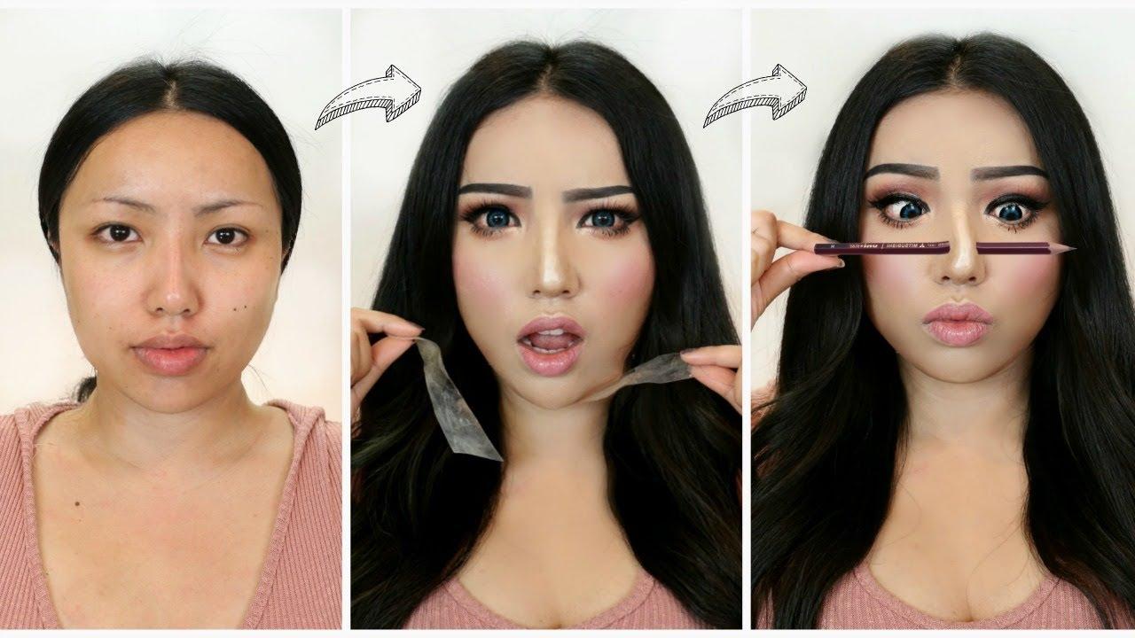 i followed viral asian makeup transformations!!!