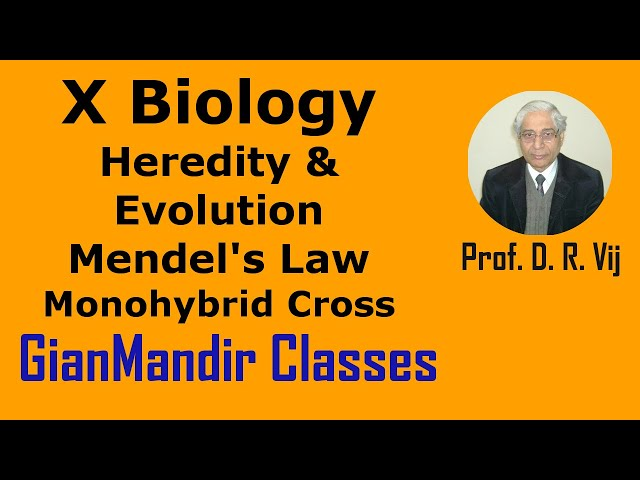 X Biology | Heredity & Evolution | Mendel's Law | Monohybrid Cross by Manjit Ma'am