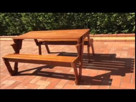 panca tavolo in legno - trasformabile -panchina giardino terrazzo ... - Tavolo Panca Da Giardino