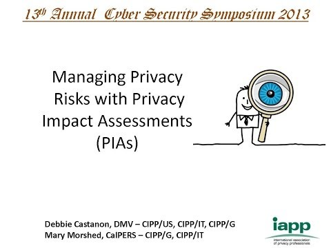 Managing Privacy Risks with Privacy Impact Assessments (PIAs) - 2013 CSS Session 2: A PSP Forum