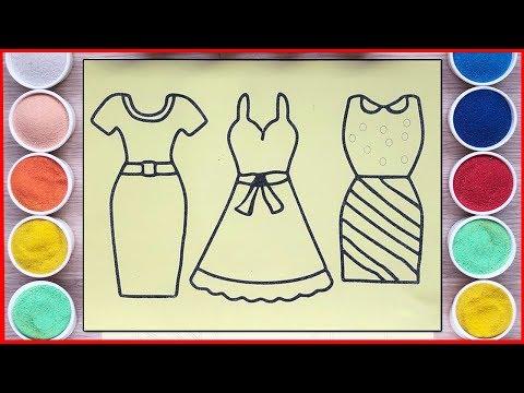 Đồ Chơi TÔ MÀU TRANH CÁT 3 BỘ VÁY ĐẦM BÚP BÊ - Colored Sand Painting Dress For Doll Toys (Chim Xinh)
