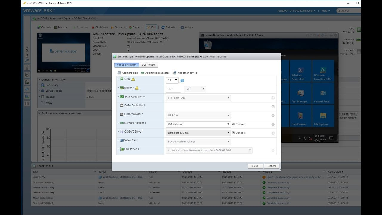 Configure VMware ESXi 6 5U1 for VMDirectPath pass-through of any NVMe  device like Intel Optane