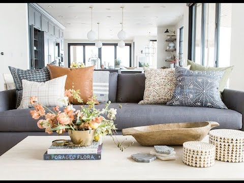 living room decorative pillows industrial furniture how to style your throw youtube