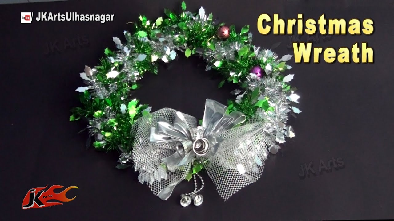 Diy christmas wreath with tinsel garland how to make a holiday