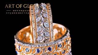 Обручальные кольца из золота, 585 пробы украшенные бриллиантами и сапфирами.(, 2014-05-16T11:37:40.000Z)