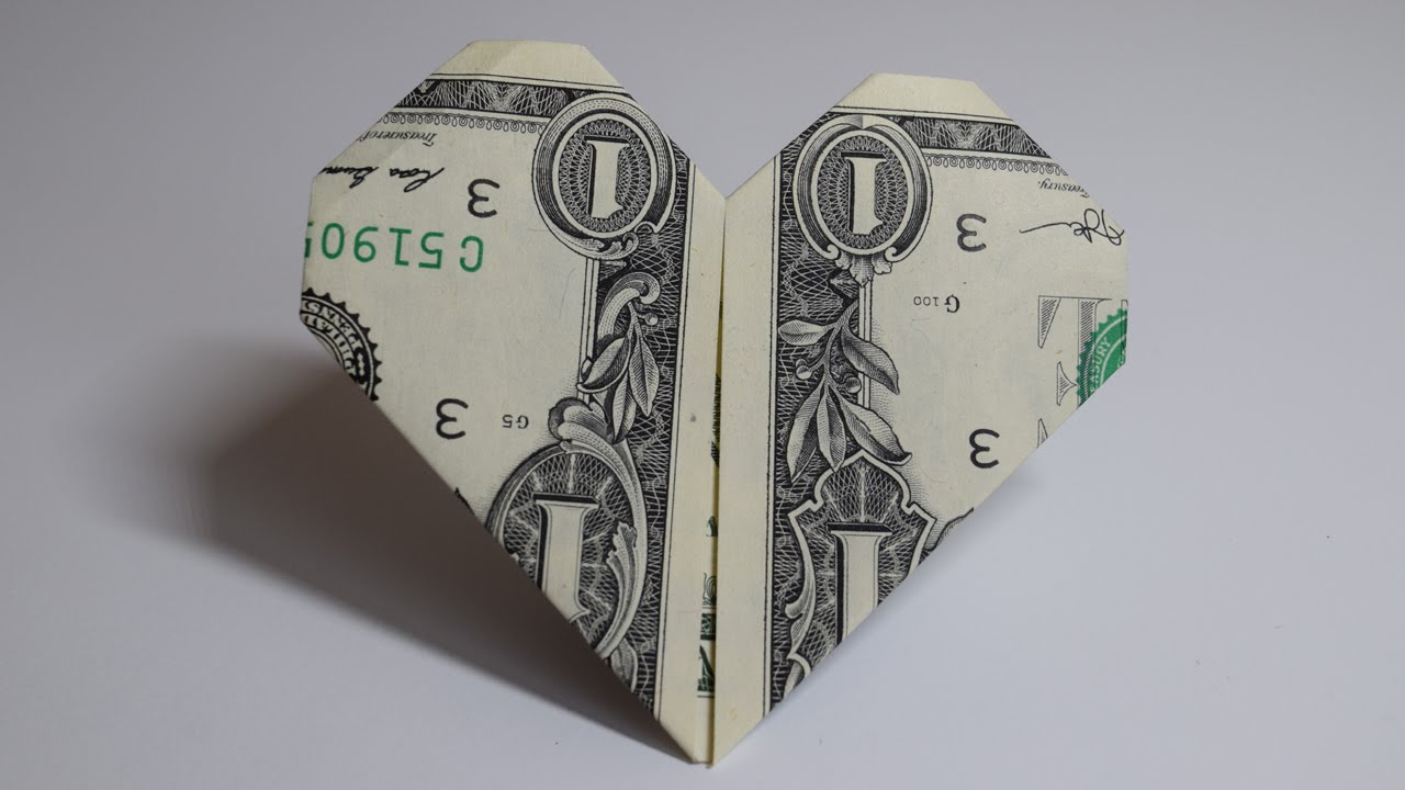 Dollar Origami Heart 1 Dollar Easy Tutorials And How To S For