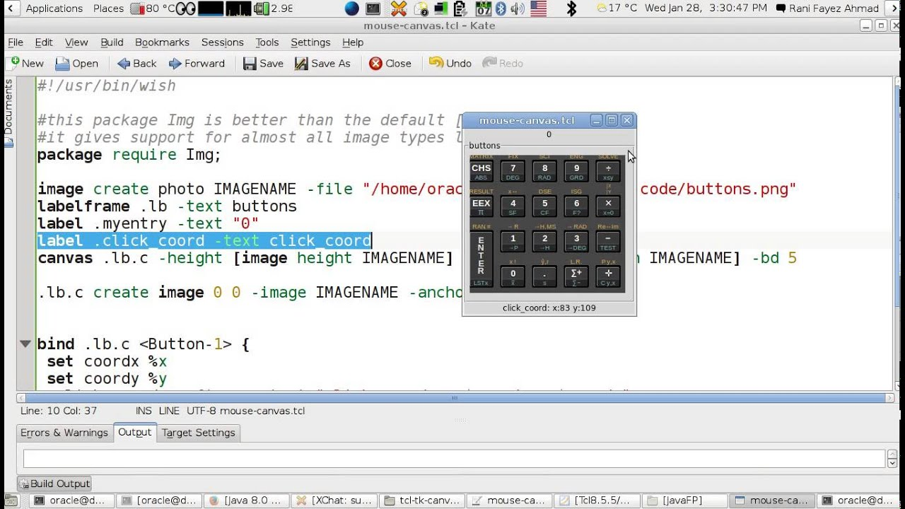Tcl/Tk Calculator Using Canvas And Mouse Click Coordinates -1 (English  Version)