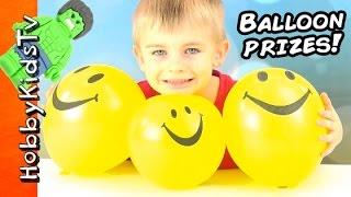 Balloon POP Surprises! Superhero Charms + SpongeBob Story w/ HobbyFrog HobbyKidsTV