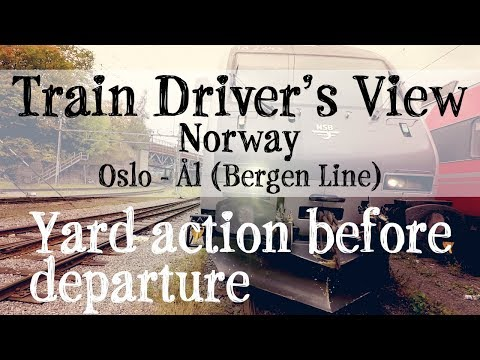 Train Driver's View: Oslo - Ål (with engine and carriage pickup)